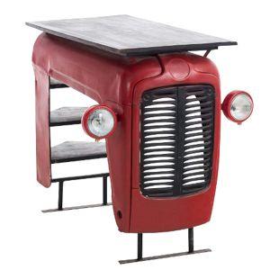 CLP Bartisch FERGUSON im Oldtimer-Look | Origineller Stehtisch mit Eisengestell | Tisch mit Kühlergrill und Holztischplatte