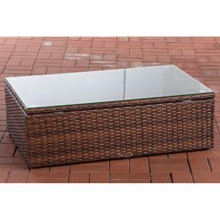 CLP Polyrattan Loungetisch Tibera I Gartentisch Mit Glasplatte I Beistelltisch Aus Flachrattan 60x100x32 cm