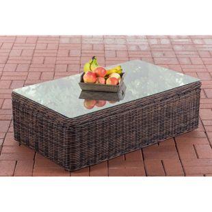 CLP Polyrattan Loungetisch Tibera 5mm I Gartentisch Mit Glasplatte I Beistelltisch Aus Rundrattan 60x100x32 cm