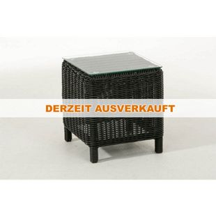 CLP Polyrattan Beistelltisch TREVISO | Gartentisch aus hochwertigem Kunststoff | Tisch mit Glastischplatte und Aluminium-Gestell | In verschiedenen Farben erhältlich