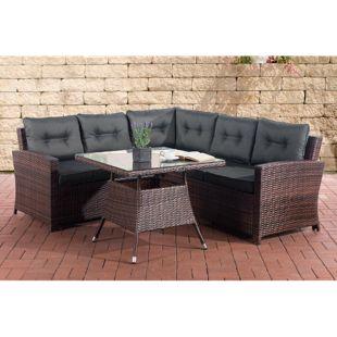 CLP Polyrattan-Gartengarnitur SIERRA | Sitzecke mit dazugehörigem Esstisch und Sitzkissen | In 30 verschiedenen Farbkombinationen erhältlich