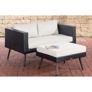 CLP Polyrattan 2er Sofa MOLDE mit Fußhocker I Schwarz I Loungeset I Gartensofa mit Hocker I Gartengarnitur