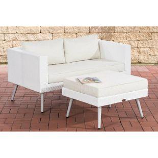 CLP Polyrattan 2er Sofa MOLDE mit Fußhocker I Weiß I Loungeset I Gartensofa mit Hocker I Gartengarnitur