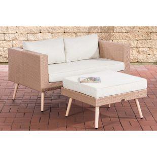 CLP Polyrattan 2er Sofa MOLDE mit Fußhocker I Sand I Loungeset I Gartensofa mit Hocker I Gartengarnitur
