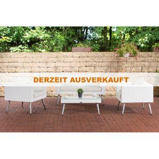 CLP Polyrattan Loungeset MOLDE 2-1-1 I Weiß I Gartenlounge I Sofa + 2x Sessel + Glastisch I 1,25mm Rattandicke