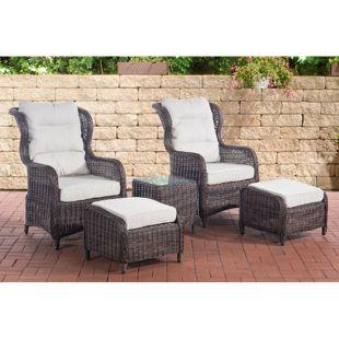 CLP Polyrattan Sitzgruppe TREVISO V2 inkl. Polsterauflagen l Garten-Set: zwei Sesseln, zwei Hockern und ein Beistelltisch l In verschiedenen Farben erhältlich