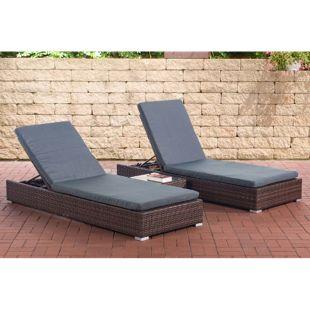 CLP 2x Polyrattan Sonnenliege NADI inkl. Tisch I 2x Wellnessliege mit verstellbarer Rückenlehne I in verschiedenen Farben erhältlich