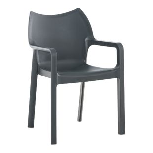 CLP Kunststoff-Gartenstuhl DIVA mit Armlehnen I XXL- Kunststoffstuhl mit einer Belastbarkeit von 160 kg