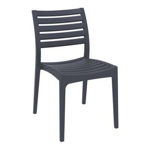 CLP Gartenstuhl ARES aus Kunststoff l Küchenstuhl belastbar bis 160 kg l Wasserabweisender, UV-beständiger Stapelstuhl