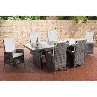 CLP Polyrattan Sitzgruppe Sevilla I Gartengruppe Flachrattan I Essgruppe Mit 6 Verstellbaren Stühlen I Glastisch B 220 x T 92 x H 75 cm