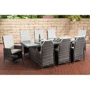 CLP Polyrattan Sitzgruppe Sevilla XL I Gartengruppe Flachrattan I Essgruppe Mit 8 Verstellbaren Stühlen I Glastisch B 240 x T 102 x H 75 cm