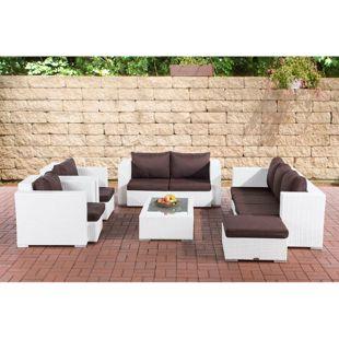 CLP Gartengarnitur PROVENCE I Sitzgruppe mit 7 Sitzplätzen I Gartenmöbel-Set aus Polyrattan