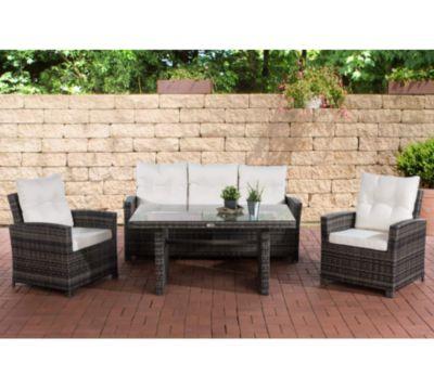 CLP Gartengarnitur FISOLO I Sitzgruppe mit 5 Sitzplätzen I Gartenmöbel-Set aus Polyrattan I Flachrattan   In verschieden