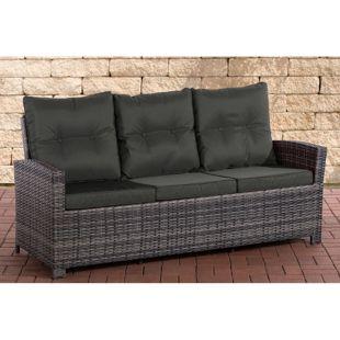 CLP Polyrattan-Sofa FISOLO mit drei Sitzplätzen I Gartensofa mit stabilem Untergestell aus Aluminium I Couch mit Kissen und Polsterauflagen I In verschiedenen Farben erhältlich