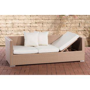 CLP Polyrattan-Loungesofa SOLANO mit höhenverstellbaren Seitenteilen I Sonnenliege aus Polyrattan mit robustem Untergestell aus Aluminium