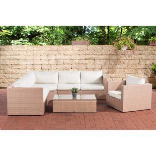 CLP Polyrattan-Gartenlounge TIBERA XXL mit Stauraum | Garten-Set mit 6 Sitzplätzen | Gartengarnitur in verschiedenen Farben