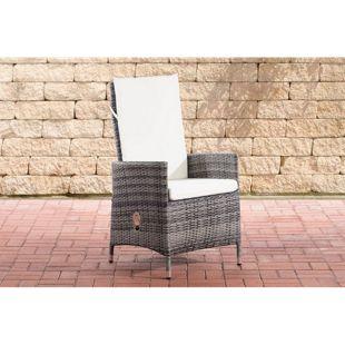 CLP Polyrattan Stuhl Sevilla I Gartenstuhl Aus Flachrattan I Gartensessel Mit Verstellbarer Rückenlehne I Inklusive Polsterauflage