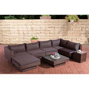 CLP Polyrattan Gartenlounge TUNIS | Garten-Set: 1 Loungesofa, 1 Fußablage, 1 Glastisch, 1 Beistelltisch  | In verschiedenen Farben erhältlich
