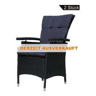 Famous Home 2 Stück Sessel Poly-Rattan Schwarz mit  Auflage Anthrazit Gartensessel