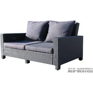 Famous Home Rattan Lounge Sofa 200cm Couch Futon  Couchgarnitur Schwarz
