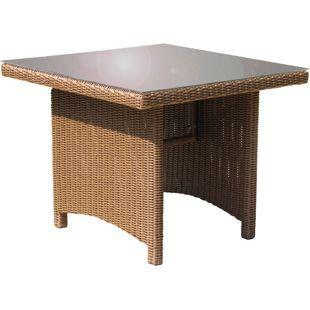 Grasekamp Rattan Tisch Ibiza 90x90cm mit  Glasplatte Polyrattan Gartentisch