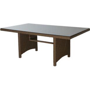 Grasekamp Rattan Tisch Ibiza 180x100cm mit  Glasplatte Polyrattan Gartentisch