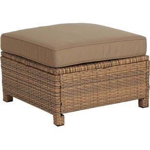 Famous Home Rattan Lounge Hocker Brasil 60cm Sofa  mit Kissen Couch Couchtisch