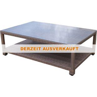 Famous Home Rattan Lounge Tisch 120x80cm Couchtisch  Beistelltisch Braun