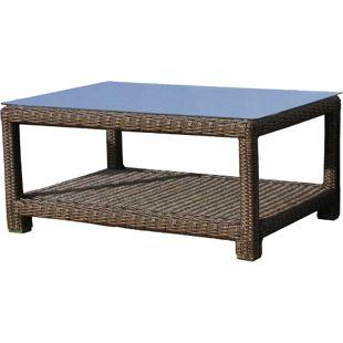 Famous Home Rattan Lounge Tisch 100x70cm Couchtisch  Beistelltisch Pepe Braun