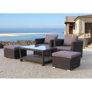 Famous Home Poly-Rattan Sitzgruppe 12tlg  Lounge-Möbel Garten-Möbel Pepe Braun