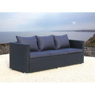 Famous Home Lounge Rattan Sofa 200cm Pepe Schwarz  Couch Futon Couchgarnitur