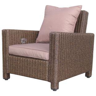 Grasekamp Rattan Lounge Loungesessel 86cm Sessel  Sofa Relaxsessel Schlafsessel Braun