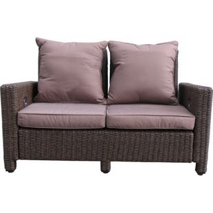 Grasekamp Rattan Lounge Sofa 140cm Couch Futon  Couchgarnitur Braun