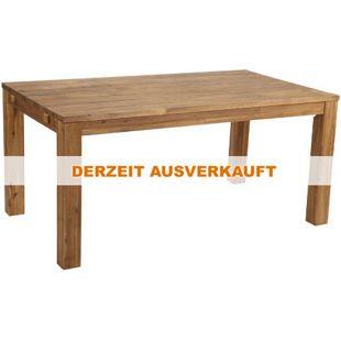Famous Home Rustikaler Akazien Holztisch 160x90 cm  Esstisch Gartentisch mit Schutzhülle  Natur
