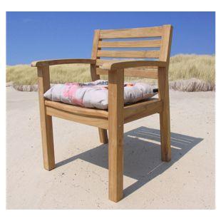 Grasekamp Gartenstuhl Sessel Teakstuhl Teak Holz  Stuhl mit Armlehne und Sitzkissen