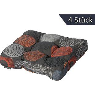 Grasekamp 4 Stück Universell Auflage Sitzkissen  47x47cm Bunt Orange Grau
