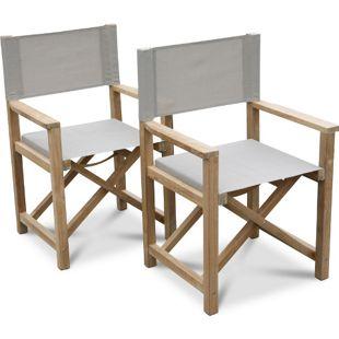 Grasekamp 2 Stück Teak Regiesessel Stuhl  Gartenstühle Klappstuhl Premium  Gartenmöbel