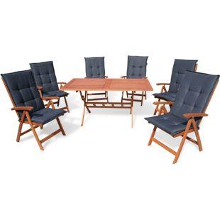 Grasekamp Gartenmöbel Santos Anthrazit 13 teilig  mit 160 cm Klapptisch Essgruppe  Terrassenmöbel