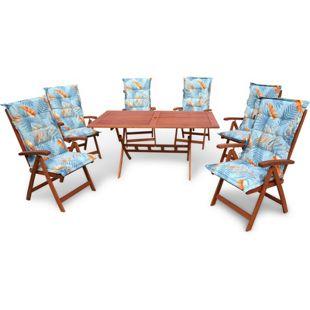 Grasekamp Gartenmöbel Santos Palmen Blätter Blau  13 teilig mit 160 cm Klapptisch  Essgruppe Terrassenmöbel