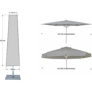 Grasekamp Schutzhülle 165cm Sonnenschirme bis Ø300cm Wäschespinne Schutzhaube Abdeckung Schutzplane Grau