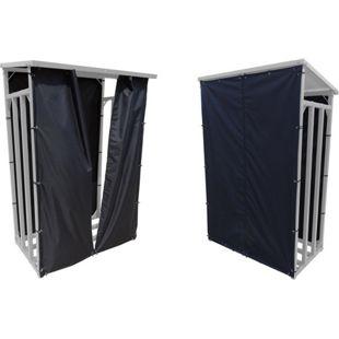 Grasekamp Wetterschutz Set Front und Rückwand zu  Kaminholzunterstand XL 200x70x203cm  Polyester Schwarz