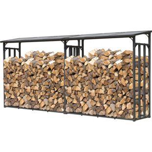 Grasekamp 2 Stück Kaminholz Lager 200 x 60 x 203 cm mit  Doppelstegplatten Regal Stapelhilfe  Aussen