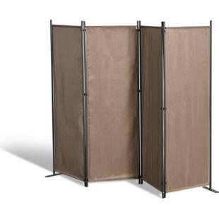 Grasekamp Paravent 4tlg Raumteiler Trennwand  Sichtschutz Taupe