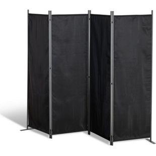 Grasekamp Paravent 4 teilig Schwarz Raumteiler  Trennwand Sichtschutz Balkontrennung