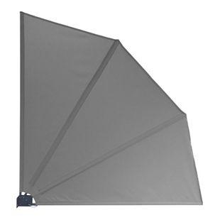 Grasekamp Balkonfächer Premium 140x140cm Grau mit  Wandhalterung Trennwand Sichtschutz