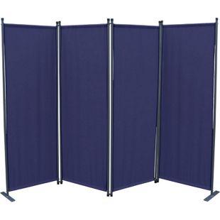 Grasekamp Paravent 4tlg Raumteiler Trennwand  Sichtschutz Blau mit Ersatz Bezug