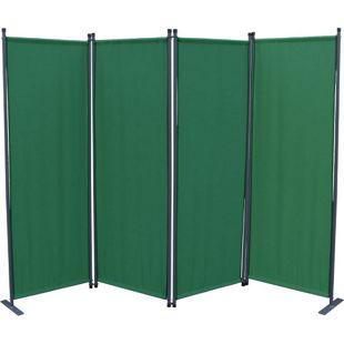 Grasekamp Paravent 4tlg Raumteiler Trennwand  Sichtschutz Grün mit Ersatz Bezug