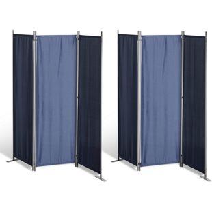 Grasekamp 2 Stück Paravent 3tlg Raumteiler  Trennwand Sichtschutz Blau