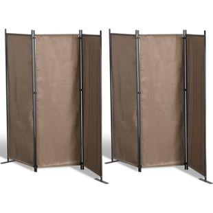 Grasekamp 2 Stück Paravent 3tlg Raumteiler  Trennwand Sichtschutz Taupe
