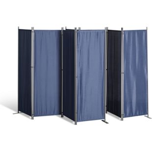 Grasekamp 2 Stück Paravent 4tlg Raumteiler  Trennwand Sichtschutz Blau